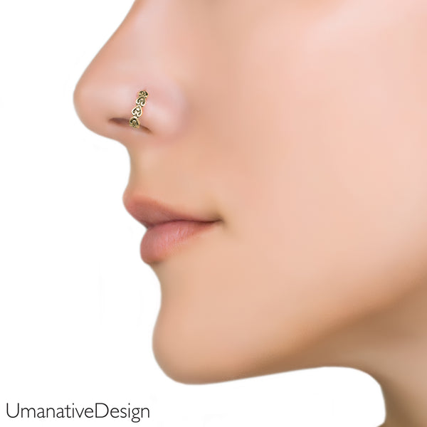 Golden Heart Nose Ring
