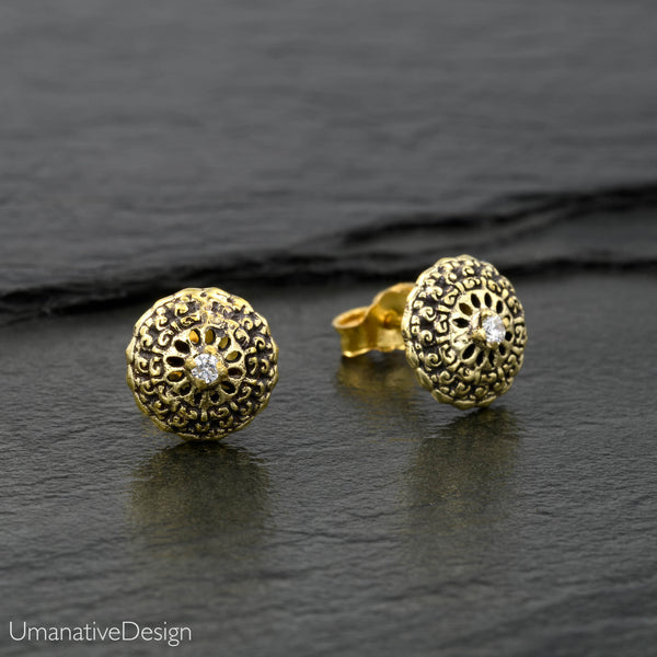 Flower Mandala Stud Earrings Set With Zircon Gemstone