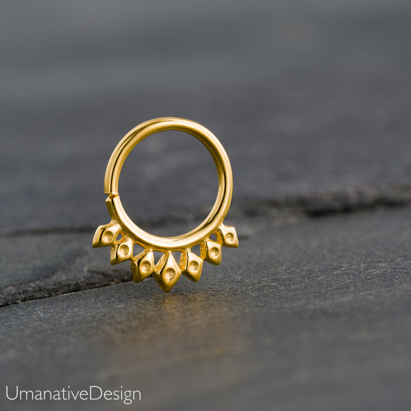 Ethnic Gold Septum Ring For Pierced Nose