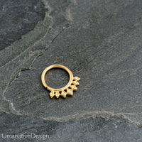 Ethnic Sterling Silver Septum Ring For Pierced Nose