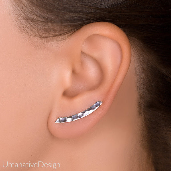 Silver Hammered Ear Climbers