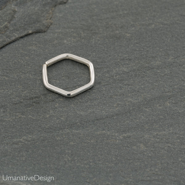 Hexagonal Nose Ring For Pierced Nose