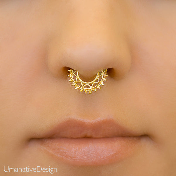 Fake Tiny Gold Septum Ring For Non Pierce Nose