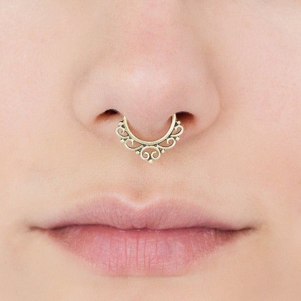 Fake Septum Ring. fake septum piercing. brass septum ring for non pierce nose
