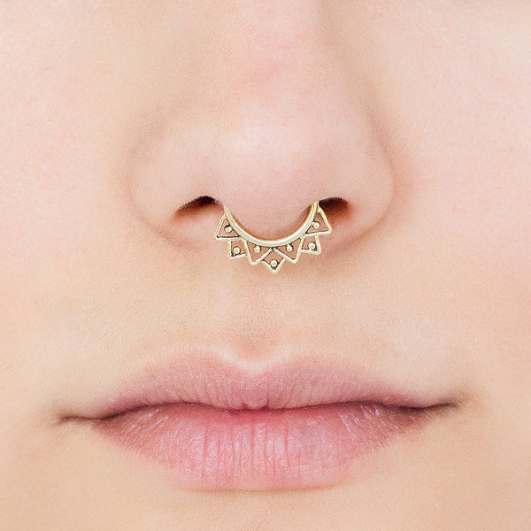 Fake Septum Ring. fake septum jewelry. septum clip. brass septum ring. tribal septum. faux septum. septum cuff. fake septum piercing. tribal.