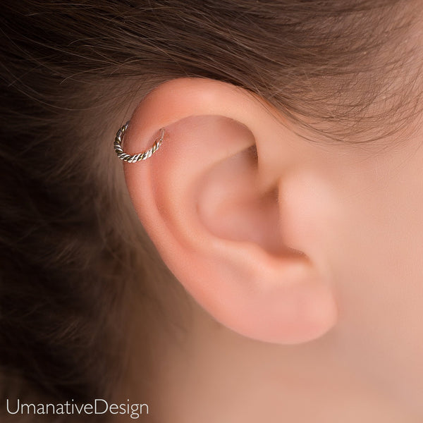 4537ab4754194 Silver Daith Earring. Helix Earring. Sterling Silver Tragus Earring.  Twisted Wire Tragus Hoop. Cartilage Earring
