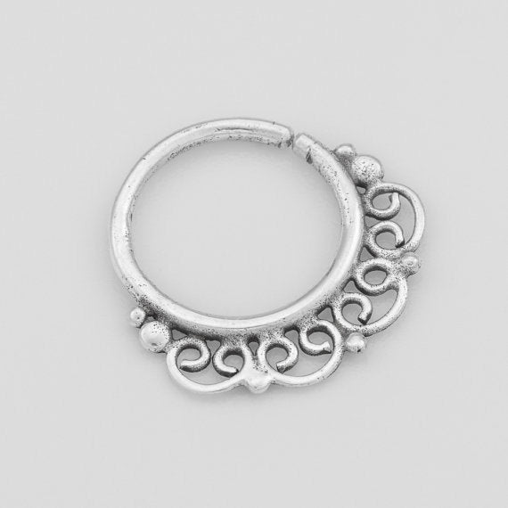 Tiny Silver Indian Hoop Earring