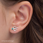 Silver Indian Trishula Stud Earrings With Turquoise