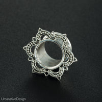 Sterling Silver Lotus Ear Tunnels