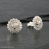 Sterling Silver Flower Mandala Stud Earrings