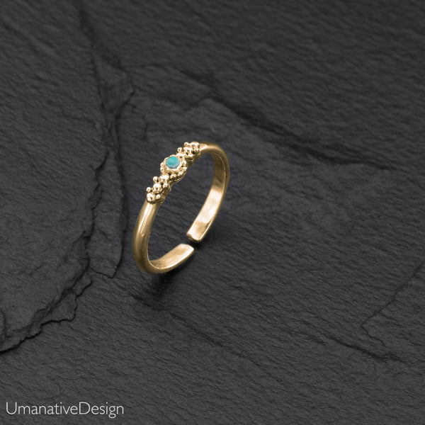 Tribal Brass Toe Ring With Turquoise
