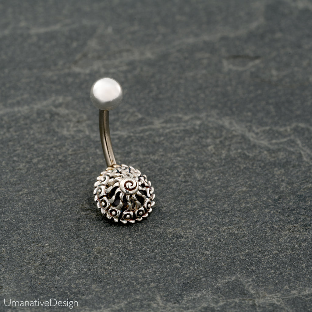 Tribal, Beautiful Silver Flower Mandala Belly Button Ring