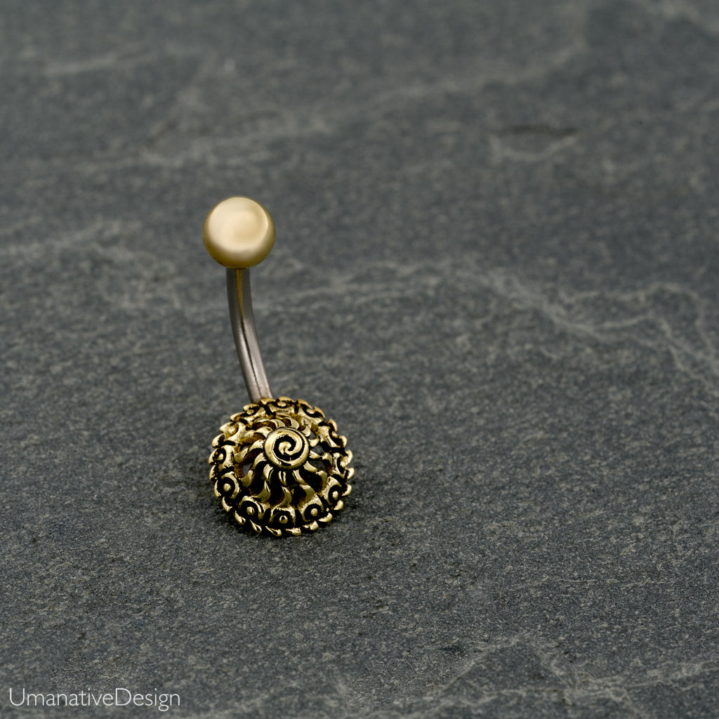 Tribal, Beautiful brass Flower Mandala Belly Button Ring
