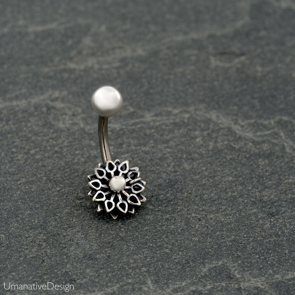 Silver Flower Mandala Belly Button Ring