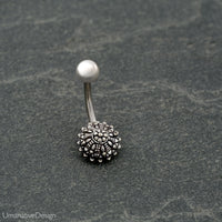 Tribal Silver Belly Ring - Navel Piercing