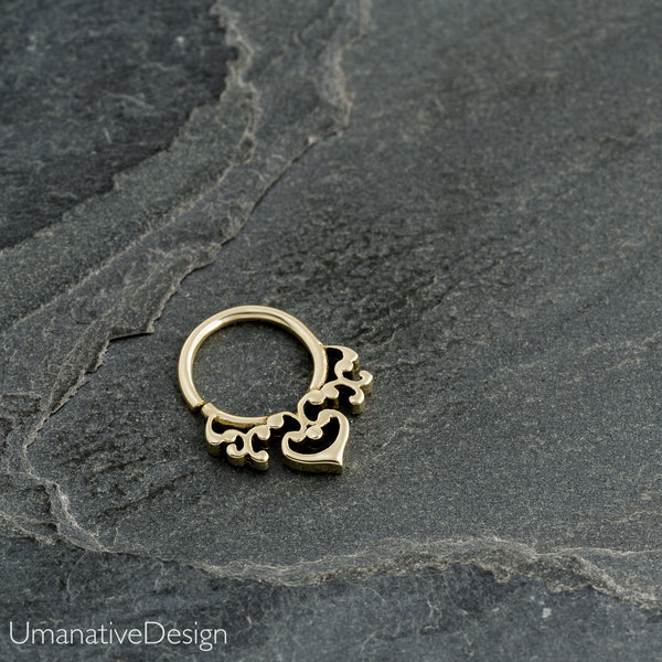 Tiny Tribal Septum Ring For Pierced Nose
