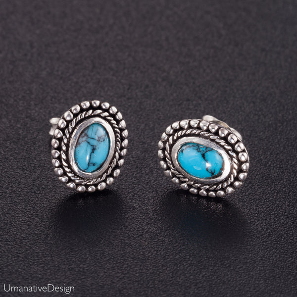 Unique Turquoise & Sterling Silver Earrings
