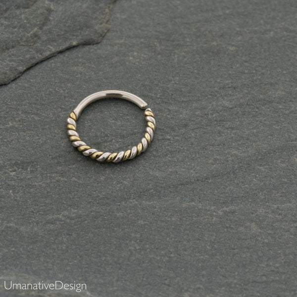 Silver Twisted Wire Septum Ring For Pierced Nose