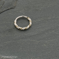Three Wire Twisted Septum Ring For Pierced Nose