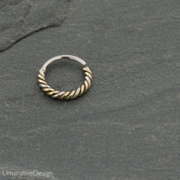 Gold Twisted Wire Nose Ring For Pierced Nose