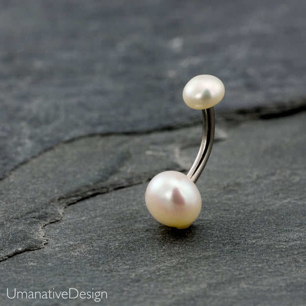 White Pearl Belly Button Ring
