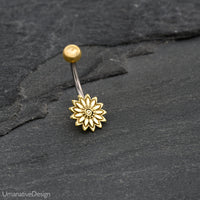 Tribal Flower Belly Button Ring