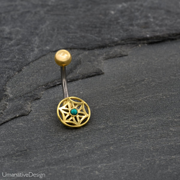 Flower Of Life Belly Button Ring With Turquoise