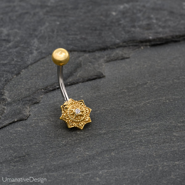 Flower Mandala Belly Button Ring With Zircon