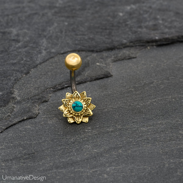 Lotus Flower Belly Ring With Turquoise