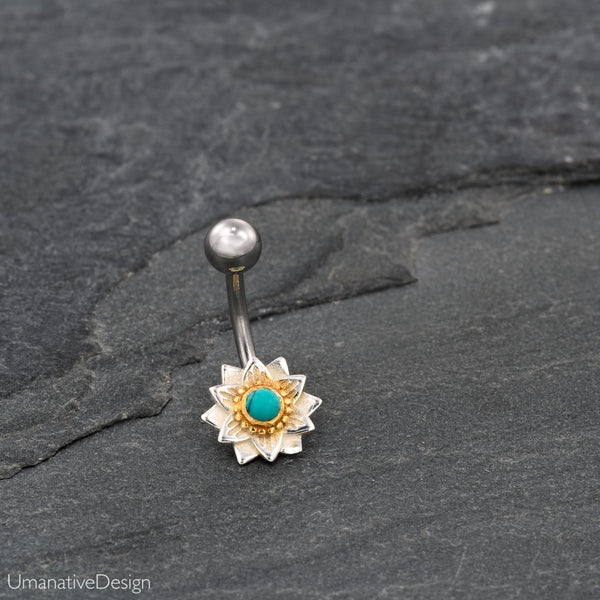 Lotus Flower Belly Button Ring With Turquoise