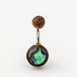 Organic Tamarind Wood & Abalone Belly Button Ring