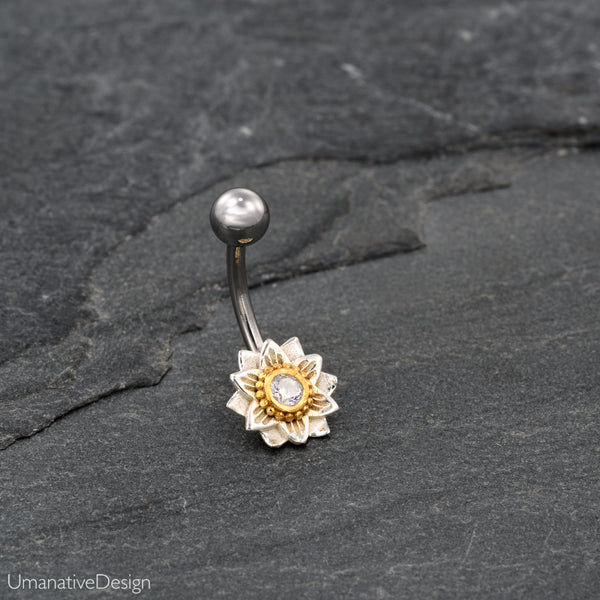 Lotus Flower Belly Button Ring