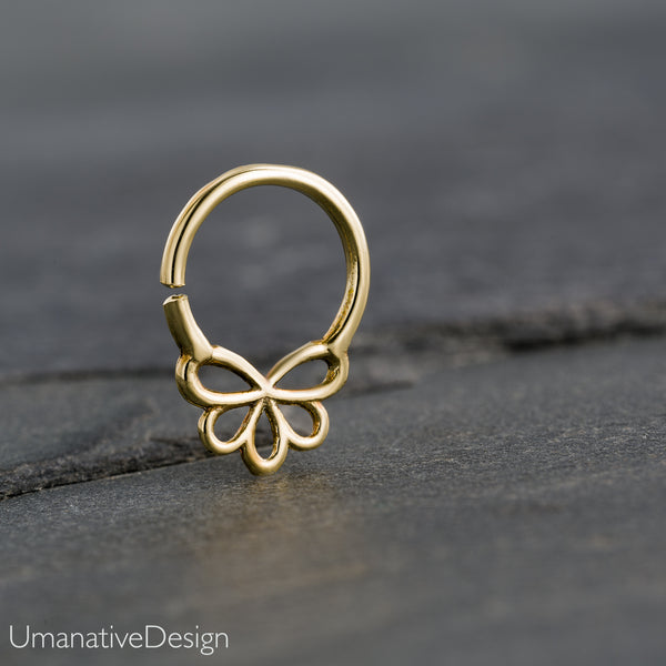 Tiny Brass Flower Septum Ring For Pierced Nose