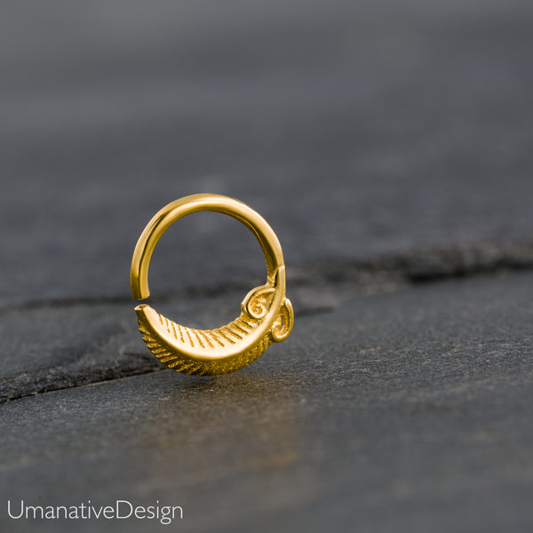 Tiny Gold Septum Ring For Pierced Nose