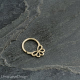 Tiny Sterling Silver Flower Septum Ring For Pierced Nose