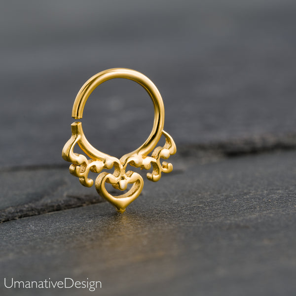 Tiny Tribal Gold Septum Ring For Pierced Nose