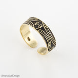 Tribal Gold Toe Ring