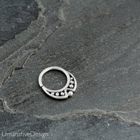 Tiny Nose piercing Sterling Silver Septum Ring For Pierced Nose. 18g Septum Piercing.