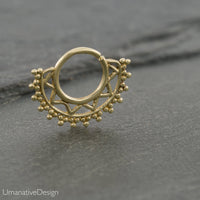Gold Septum Piercing For Pierced Nose