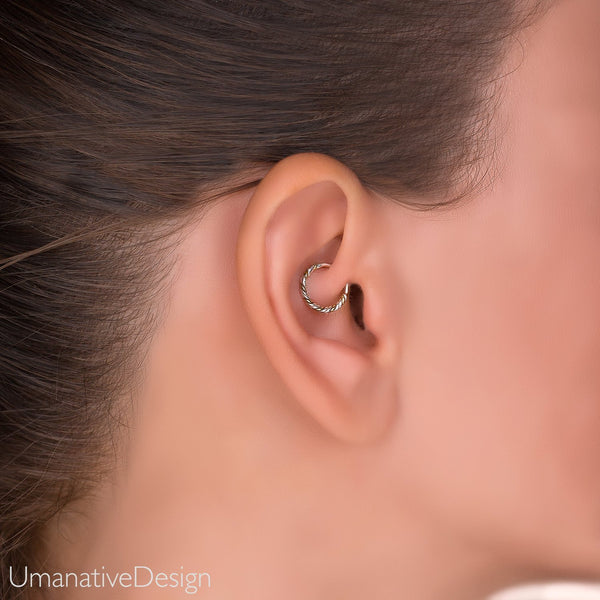 Silver Daith Earring. Helix Earring. Sterling Silver Tragus Earring. Twisted Wire Tragus Hoop. Cartilage Earring