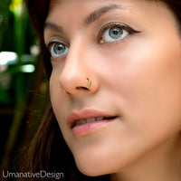 Carved Gold Nose Hoop