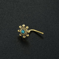 Flower Nose Stud With Turquoise