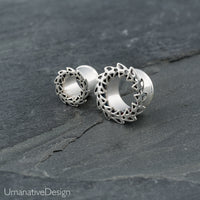 Tribal Silver Lotus Ear Gauges