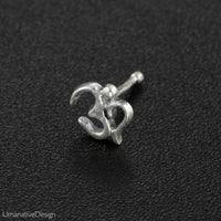 Indian Silver Om Nose Pin