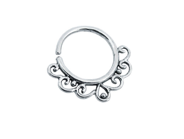 Sterling silver Septum Ring. Indian septum ring. septum jewelry. tribal septum ring. septum piercing. silver septum ring. tragus earring