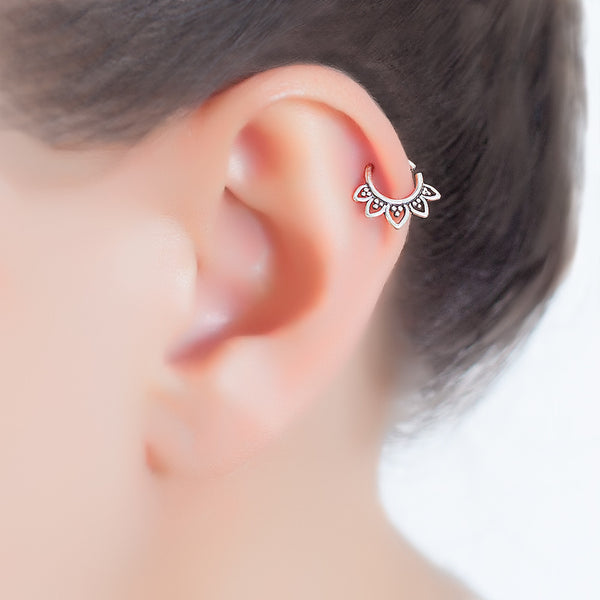 silver tragus earring. helix earring. tiny earring. cartilage piercing.