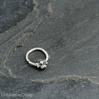 Tiny Silver Flower Septum Ring For Pierced Nose