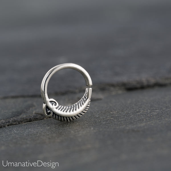 Tiny Sterling Silver Septum Ring For Pierced Nose