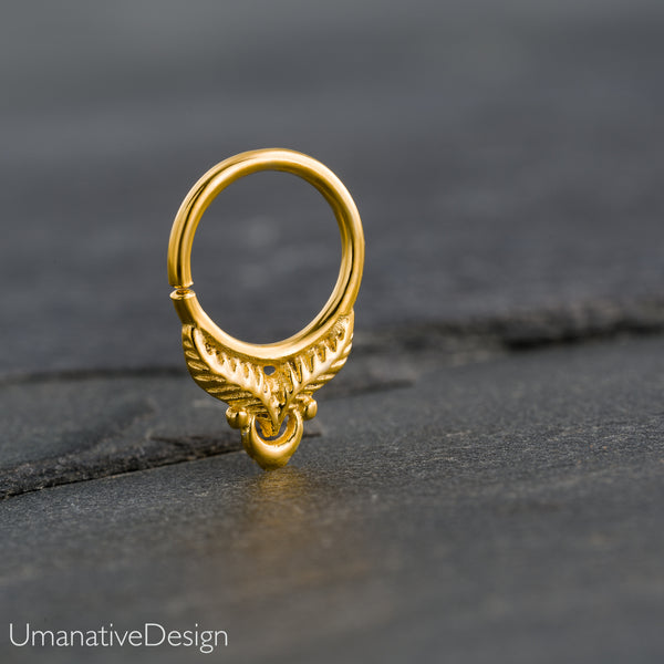 Tiny Gold Feather Septum Ring For Pierced Nose