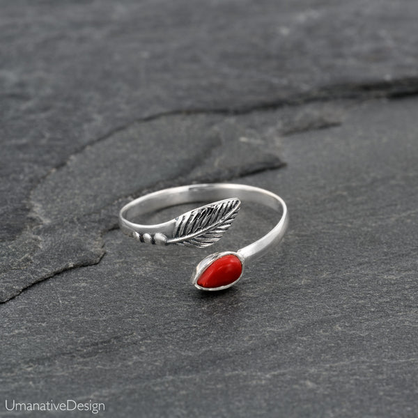 Sterling Silver & Red Coral Toe Ring